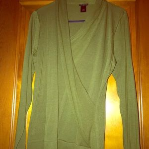 Ann Taylor olive long sleeve wrap, size large